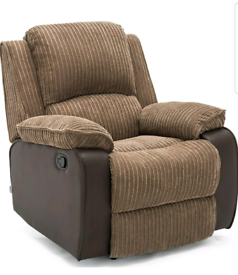 Brown jumbo cord Manual recliner Armchair New condition free local del