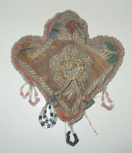 ANTIQUE VICTORIAN NATIVE AMERICAN IROQUOIS BEADED SOUVENIR PIN CUSHION