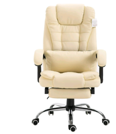 Executive Reclining Computer Desk Chair with Footrest