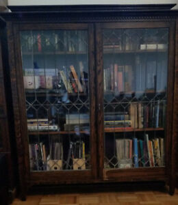 Victorian Antique Bookcase w/ Leaded Glass Doors
