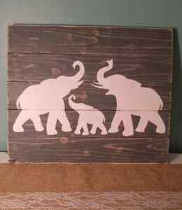 Handmade elephant wood sign