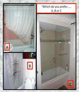 REPLACE SHOWER CURTAIN W/TUB GLASS DOORS,CRAZY SALE!!P