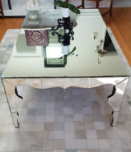 Large Urban Barn Mirrored Coffee Table with Scalloped Edges