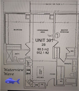 Full Waterfront View Condo 2 bed 2 Bath Parking Locker $1875 wow