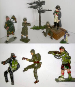 Lot 9 Incl's 7 Misc Antique Lead Toy Soldiers 1 Britains Tree +1