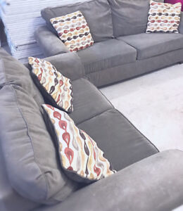 Nice Comfy Space Grey (suede material) 2 Piece SOFA For SALE!!!