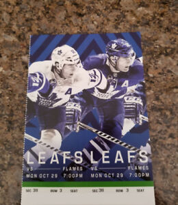 Flames vs Maple Leafs - Mon. Oct. 29th 7:00 PM 3RD ROW