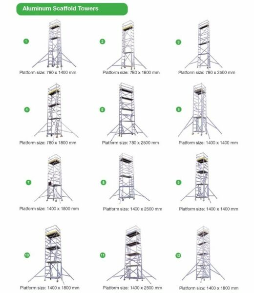 ALUMINIUM SCAFFOLDING FOR RENTAL 6.2M WORKING HEIGHT