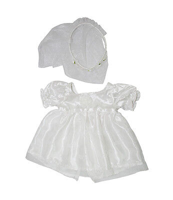 Bride Wedding Dress Gown with veil outfit teddy bear clothes fits Build a Bear