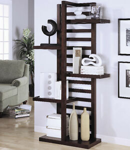 Tall Open Wood Bookcase with Dark Finish!  FREE Shipping!