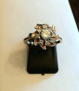 BAGUE VINTAGE OR JAUNE 14K.DIAMANTS 0.55 CTS.CENTRE 0.25CT. VS
