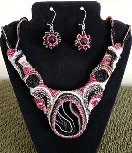 Black stripe Agate Gemstone Goth Seed Bead Necklace and Earrings