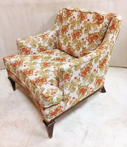 224: Vintage Upholstered Armchair With Original Fabric