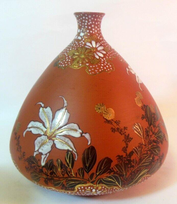 Exquisite SIGNED vtg TOKONAME Ware Japanese VASE Enameled Flowers Moriage Gold