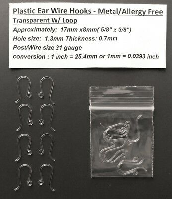 Rare 17mm- Plastic Ear Wire Hooks -Hypoallergenic Metal Free -Hook Wire (Metal Earring Hooks)
