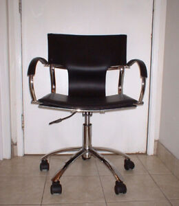 Computer / desk chair BLACK LEATHERETTE chrome swivel adjustable