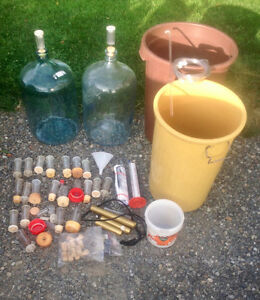 wine making kit: 2x carboys, 2 buckets, air locks, hydrometers