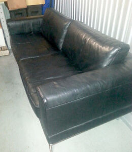 IKEA black leather sofa and chair set - great condition
