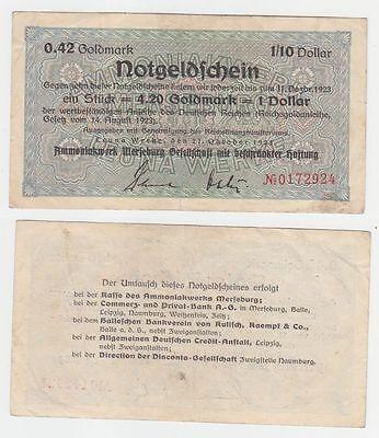 wertbeständiges Notgeld 0,42 Goldmark Leuna Werke Merseburg 27.10.1923 (110855)