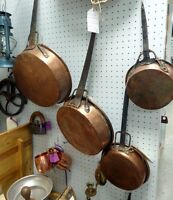 Antique Copper Pots/Pans Kitchen Decor - BLUE JAR Antique Mall