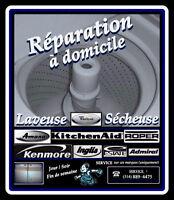 SERVICE de RÉPARATION $35. Laveuse / Sécheuse WHIRLPOOL-INGLIS..