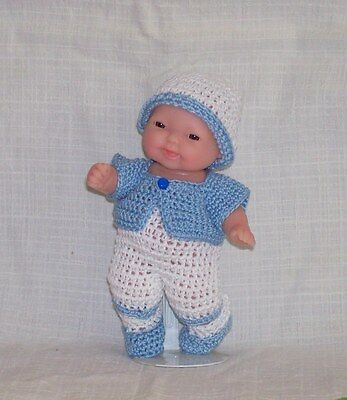 """Hand Crochet 5"""" Berenguer My Sweet Love Mini Baby Doll Clothes Boy Outfit 5 Pc,"""