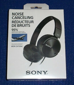 Sony Noise Canceling Headphones MDR-ZX110NC Black  NIB