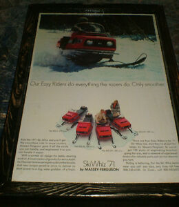 vintage Snowmobile ads -10 diff -mounted, ready to display