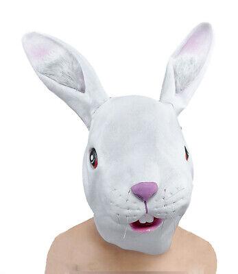 Weißen Kaninchen Maske Ganzer Kopf Latex Osterhase Erwachsene Kostüm Maske Neu