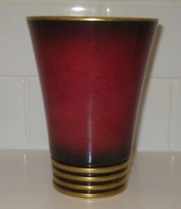 Carlton Ware art deco 5.5 inch conical vase - Rouge Royale