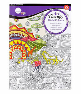 NEW: Daler-Rowney Simply Art Therapy-World Cultures Coloring Bo