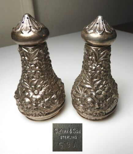 Kirk Stieff Sterling REPOUSSE Salt & Pepper Shakers