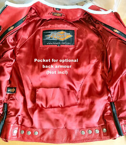 POWER TRIP Women's Vented, Red Leather Jacket-(S). Brand New!