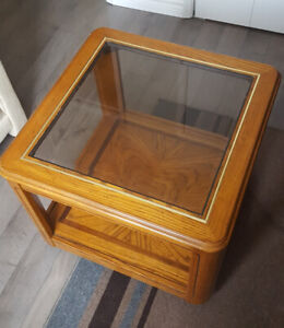Glass top wood table - $20