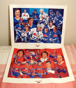 Duo d'affiches hockey Maxwell House Canadiens et Nordiques
