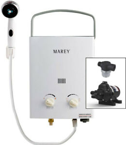 Marey Portable 5L Gas Tankless Water Heater Bundle(12v Eccoflo)