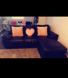 Black leather sofa suite couch