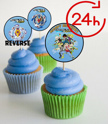 BEYBLADE, Happy Birthday Party. Cupcake Toppers. Digital printable Version. (Happy Birthday Cupcake)