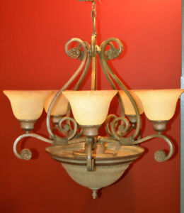 """Large 27"""" Wrought Iron 6 light Living Dining Room Chandelier"""