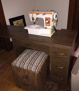 Vintage Brother Sewing Machine in fold up cabinet with seat