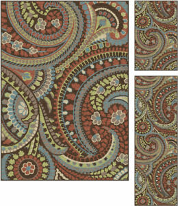 Tayse Deco Paisley 3-pc. Rug Set - Brown, New