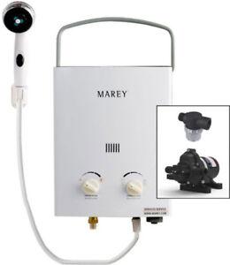 Marey Portable 5L Gas Tankless Water Heater Bundle(12v Eccoflo)