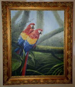 Two new beautiful art paintings animals oil on canvas framed