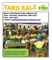 September 28th  Yard Sale 1536 Sparks Avenue - 9 a.m. to 4 p.m.