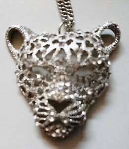 Panther Head Pendant Chain Necklace Silver Tone Mens Leopard