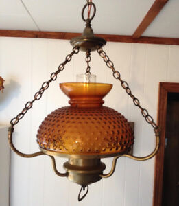 Vintage ceiling light fixture oil lamp amber glass shade