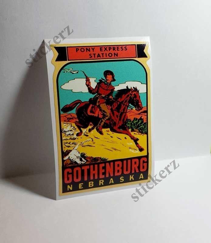Gothenburg Nebraska Pony Express Vintage Style Travel Decal / Vinyl Sticker