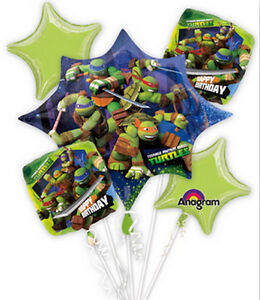 Teenage Mutant Ninja Turtles Happy Birthday 5 piece Foil Balloon Bouquet - 26431