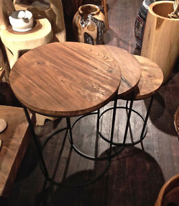 3 Tables gigognes Bois Teck Acier // 3 Nesting Coffee Tables Teak wood and steel *NEW from Indonesia