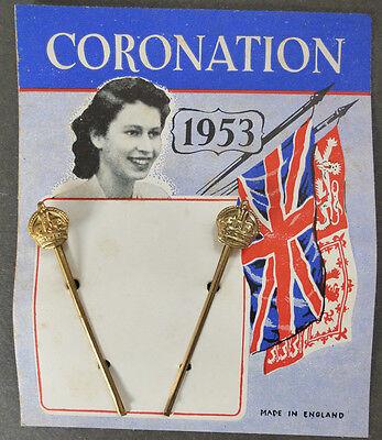 Genuine 1953 Queen Elizabeth CORONATION Hair Grips with CROWNS